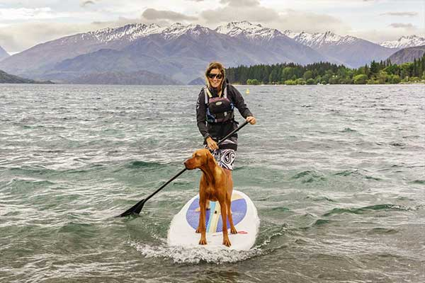 Bex and Mahi (Boss and her Dog) on SUP